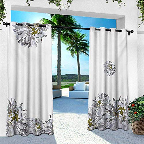 leinuoyi Dahlia Flower, Sun Zero Outdoor Curtains, Flourishing Summertime Fusion Poppy Chamomile Purity Icons of Habitat Art, Set for Patio Waterproof W96 x L96 Inch Grey Mustard ()