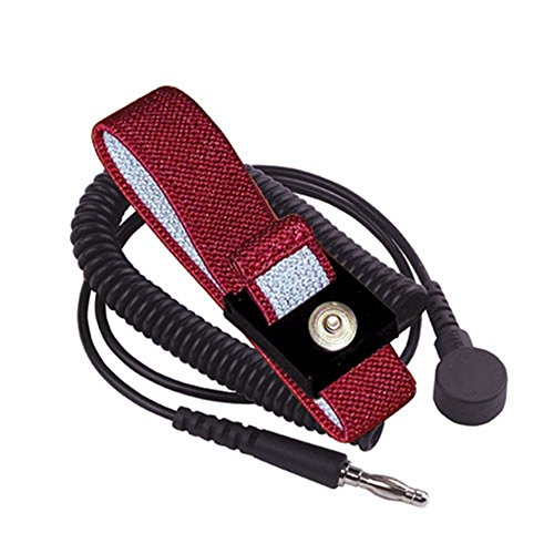 Static Control Wrist Strap (StaticTek WB5600 Series Anti-Static Anti-Allergy Grounding Wrist Band Maroon Woven Fabric ESD Wrist Strap Set with 6ft Coil Cord for ESD Personal Grounding, 4mm Snap/6' Cord - (1 Set))
