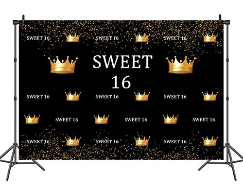 7x5ft Custom-Made Seamless Sweet 16 Birthday Photography Backdrops Gold Crown Glitter Spots Party Supplies Sweet Sixteen Decorations Party Favors Studio Props