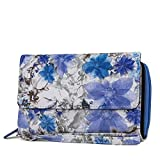 MUNDI Big Fat Womens RFID Blocking Wallet Clutch Organizer Removable Wristlet (Floral (Blue))