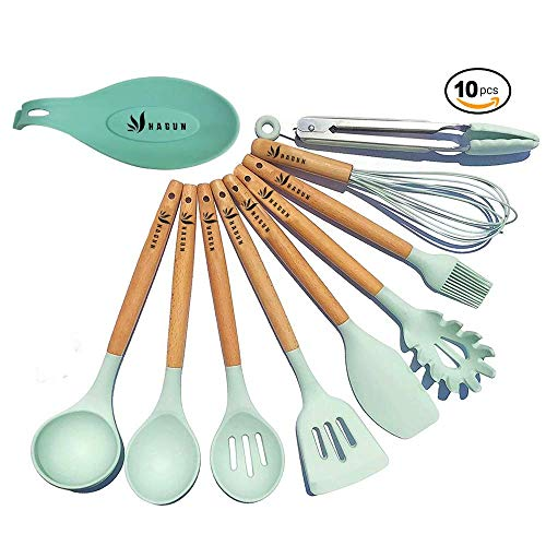 Silicone Cooking Utensils Kitchen Utensil Set with spoon holder,HAGUN 9 Pieces Natural Acacia Wooden Cooking Tool Turner Tongs Spatula for Nonstick Cookware - Best Kitchen Tools Gadgets.
