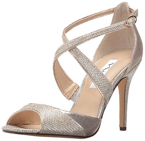 Nina Women's Celosia Dress Sandal Taupe Reflective Suede hH2ksG8WNb
