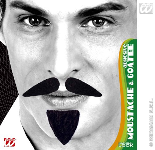 Diplomat Tash & Goatee Adhesive - Black Crazy Novelty Fake False Moustaches
