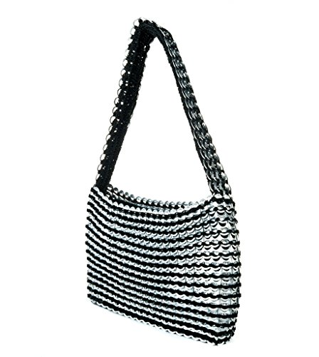 (Eco Friendly Purse from Aluminum Can Tops, Black Socorro Recycled Soda Tab Purse, Great 10 Year for Her, Finished with Zipper Top, Black Fabric Lined, Handmade in Brazil)