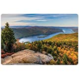 Lunarable Adirondack Pet Mat for Food and Water, Tranquil Landscape of Lake George and Tongue Mountain Over The Mountain Top, Rectangle Non-Slip Rubber Mat for Dogs and Cats, Multicolor