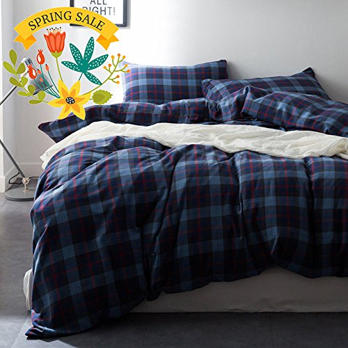 Blue Plaid Duvet Cover Set Full Queen Luxury Flannel Bedding Cover Set Grid Printed Boys Girls Duvet Cover Set Velvet Soft Queen Bedding Duvet Cover Set for Kids Teens Adults with 2 Pillow Shams