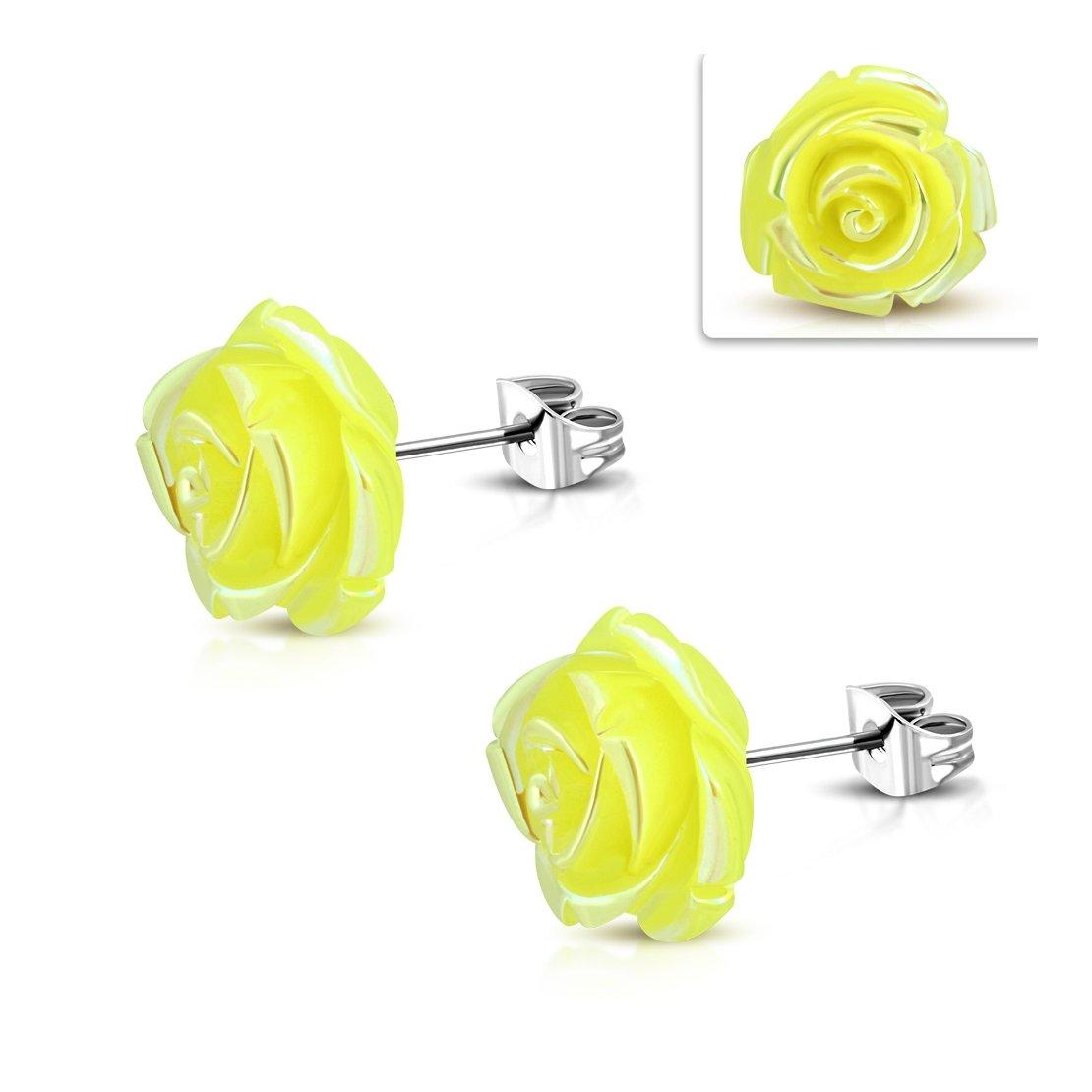 Stainless Steel Shimmer Yellow Resin Rose Flower Stud Earrings pair