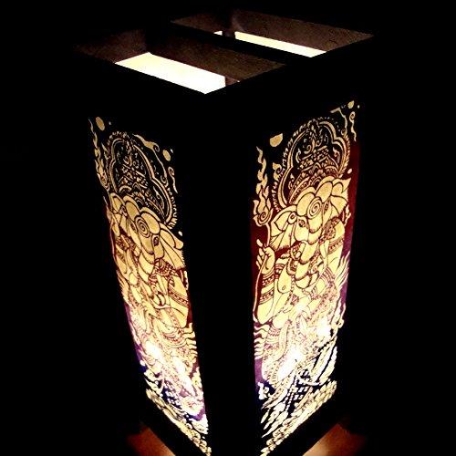 Ganesha India Hindu Purple Handmade Asian Oriental Wood Light Night Lamp Shade Table Desk Art Gift Home Vintage Bedroom Bedside Garden Living Room; Free Adapter; a Us 2 Pin Plug #519 by Apple-Heart (Image #3)