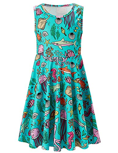 Girls Sleeveless Skirts Funny Animals Printed Swing Dress Round Neck Sundress Kids Casual Playwear Dress Frock Dresses XL 10-13 Years Old