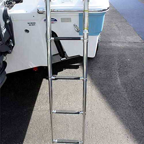 Hoffen Telescopic 4 Step Ladder Stainless Steel Telescoping Extendable Ladder 600 Pound Capacity for Marine Yacht/Swimming Pool