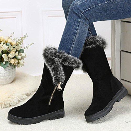 Kingko® Frauen Warm gefüttert Winter Schnee Stiefel Outdoor Stiefeletten mit Reißverschluss,Kleiner als üblich (35, Schwarz)
