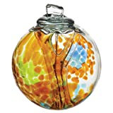 Kitras Art Glass Decorative Spirit Ball, 6-Inch, Amber