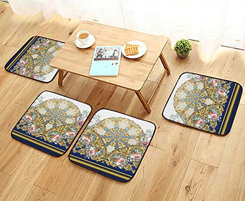 UHOO2018 Universal Chair Cushions Vintage Border with gen Scrolls and Flowers Personalized Durable W15.5 x L15.5/4PCS Set (Chair T-cushion Slipcover Scroll)