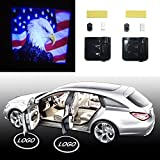 YeaFly - 2x Bald Eagle American Flag US Flag Patriot Wireless Drill Free Easy Install Car Door LED Projector Courtesy Welcome Logo Ghost Shadow Light Magnet Sensor