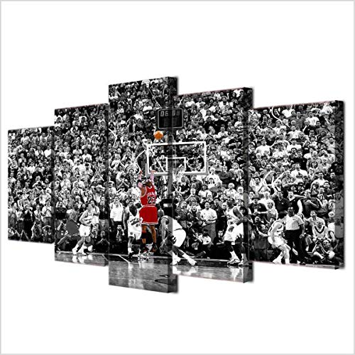 DOLUDO Canvas Painting Wall Art Home Decor for Living Room Prints 5 Pieces Basketball Sport Michael Jordan Poster Pictures