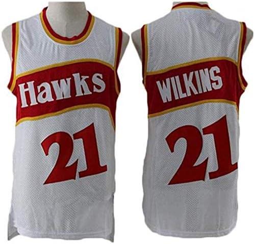 NBA Jersey Halcones # 21 Dominique Wilkins Mangas Transpirable Fitness Deportivo Camisetas Fans Negro Oro Uniforme De Baloncesto,A,S:165~170cm//50~65kg XSJY Camiseta De Baloncesto De Los Hombres