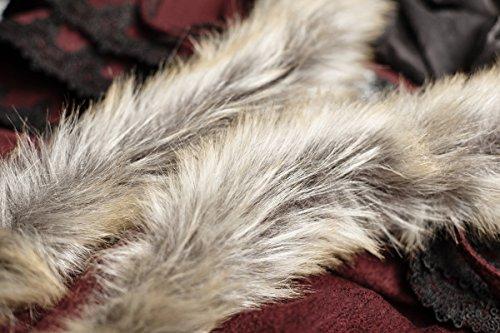 Longue cape d'hiver rouge sombre avec fausse fourrure beige gothique witchy medieval
