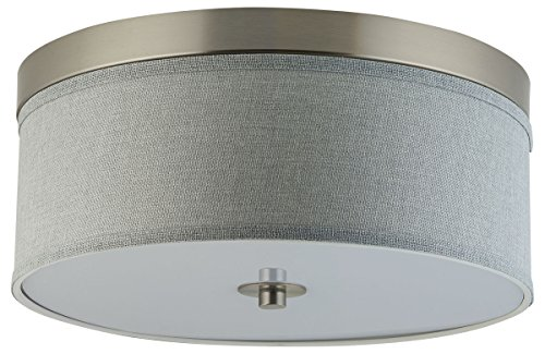 Linea di Liara Occhio 15-Inch Heather Gray Two-Light Ceiling Fixture, Brushed Nickel with Fabric Shade, Flushmount LL-C252-HG