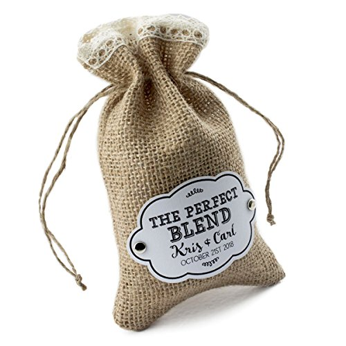 sonalized Burlap Bags with Crochet Lace, Drawstring and Gift Tags Rustic Wedding Favors - The Perfect Blend (Lace Gift Tag)