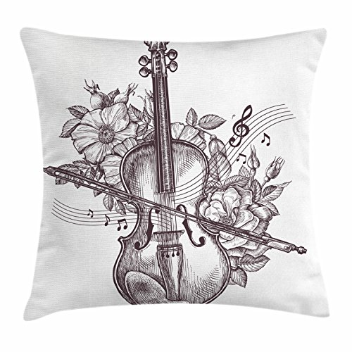 Lunarable Violin Throw Pillow Cushion Cover, Vintage Fiddle Instrument and Blossoms Rhythm Orchestra Melody Hand Drawn Art, Decorative Square Accent Pillow Case, 16 X 16 Inches, Dark Brown (Fiddle Dinner)