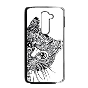 Canting_Good Black and White Aztec Cat Custom Case Skin for LG G2 (Fit for AT&T)