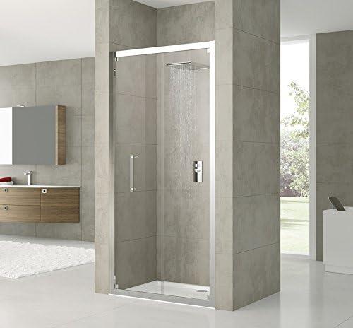 Mampara de ducha plegable rosa S. cristal transparente en 6 mm. Perfil Silver: Amazon.es: Bricolaje y herramientas