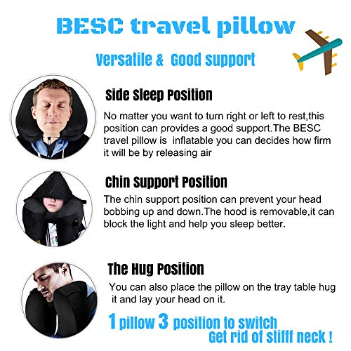 BESC Inflatable Travel Pillow for Airplanes - Multinational Traveling Neck Pillow Set with Hood for Women Men Kids - Soft Small Portable Supports Head Chin (Black) by BESC (Image #2)