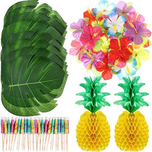 100 Pieces Hawaiian Luau Theme Party Decorations Including 2 Pieces 14 Inch Tissue Paper Pineapples, 24 Pieces Tropical Palm Leaves, 24 Pieces Hibiscus Flowers and 50 Pieces Multicolor Umbrellas