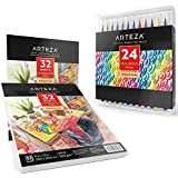 "Arteza Bundle, Set of 24 Real Brush Pens, and 9""x12"" Watercolor Pads (Pack of 2)"