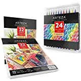 Arteza Bundle, Set of 24 Real Brush Pens, and 9''x12'' Watercolor Pads (Pack of 2)