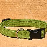 """3/4"""" Avocado Medium Hemp Corduroy Dog Collar"""