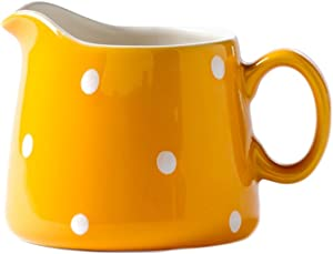 CHOOLD Polka Dot Ceramic Creamer with Handle,Coffee Milk Creamer Pitcher /Serving Pitcher/Sauce Pitcher/ Milk Creamer Jug for Kitchen 8.5oz