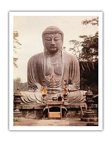The Great Buddha of Kamakura (Daibutsu) Statue - K_toku-in Temple, Japan - Vintage Religious Art c.1921 - Fine Art Print - 11in x 14in (Daibutsu Statue)