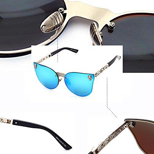Oversized Cráneo C2 Rimless UV400 Moda Gafas BOZEVON azul Plateado de Mujer Sol Hombre wCIYHAq