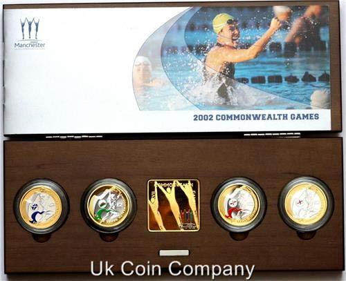 2002 Commonwealth giocos argento Proof Piedfort Four Coin Set