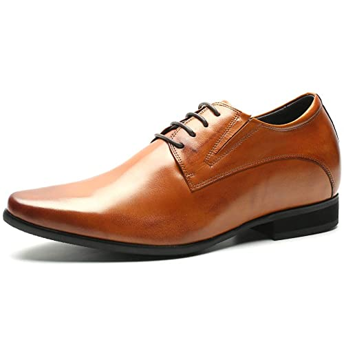 5ee1cf28de2 CHAMARIPA Elevator Shoes Mens Fashion Oxford Leather Dress Shoes Height  Increasing Shoes Formal Dress Shoes for Men Back to Schoool -Black