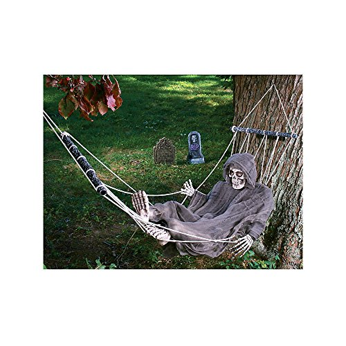 Fun World Women s Lazy Bones Reaper Hammock Life Size Prop, black, Standard
