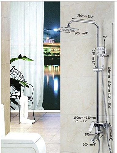 GOWE Bathroom Basin Sink 8 inch Shower Head Two Way Shower Mixer Diverter With & Hand Held Shower Brass Chrome 1