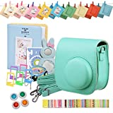 Instax Mini 8 9 Camera Accessories Bundle Set Kit, WarmHut Soft Camera Protection Case Bag, Mint Green, for Fujifilm Instax Mini 8 8+, with Album Selfie Len Film Frames Stickers