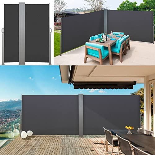 IDMarket – Biombo exterior retráctil, estor vertical doble, 600 x 140 cm, color gris: Amazon.es: Jardín