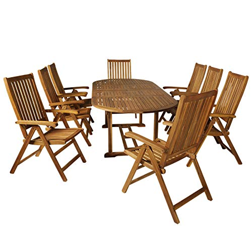 Outsunny Acacia Wood 9 Piece Extendable Oval Patio Dining Table Set ()