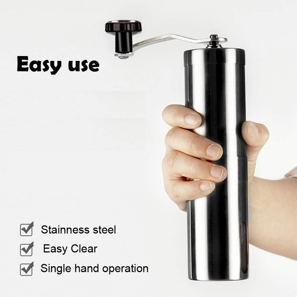 OnlyElect Portable Manual Coffee bean Grinder,Conical Burr Mill Brushed Stainless Steel