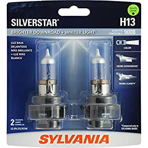 SYLVANIA H13 SilverStar High Performance Halogen Headlight Bulb, (Contains 2 Bulbs)