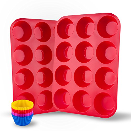 Bakeware Solutions Set Silicone (Auxcuiso 12 Cups Muffin Molds Silicone Non Stick Set of 2 Pack Red with 12 Silicone Baking Cups Cupcake)