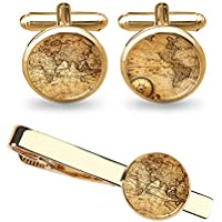 ZUNON World Map Cufflinks Wedding Vintage Personalised Gifts Father Grandfather Dad Tie Clip Blue