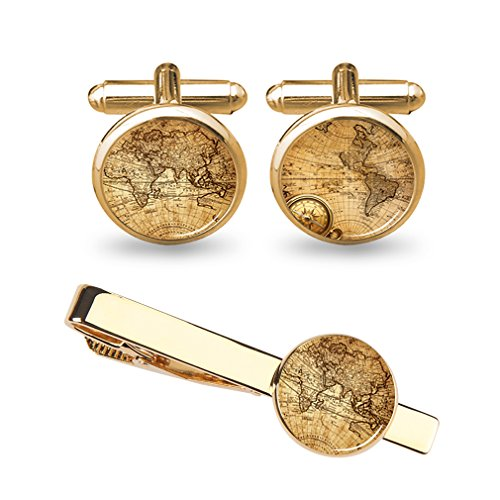 ZUNON World Map Cufflinks Wedding Personalised Gifts for Father Grandfather Dad Tie (World map Cufflinks and tie Clips Gold)