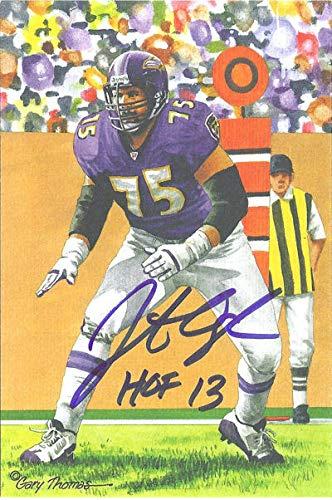 Jonathan Ogden Autographed Baltimore Ravens Goal Line Art Card in Blue w/HOF 13 Baltimore Ravens Goal Line