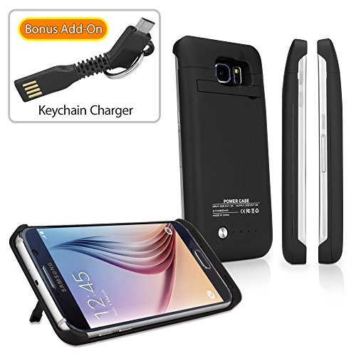 Galaxy S6 Battery, BoxWave® [RocketPack Case with BONUS Keychain Charger] Emergency Power Battery Cover for Samsung Galaxy S6 - Jet Black