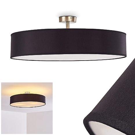 Lámpara de Techo Foggia con Pantalla de Tela Negro 60 cm 3 x ...