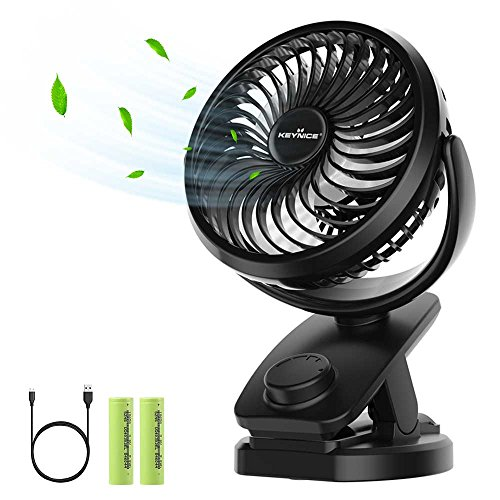 Price comparison product image KEYNICE Table Desk Fan Rechargeable 5000Mah Battery Operated Clip on Fan with 360 Degree Rotation Portable Personal USB Fan Strong Wind for Baby Stroller Car/Office/Dorm - Black